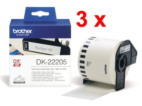 3x Brother Endlos-Etikett (DK-22205) weiß, 62mm x 30,48m
